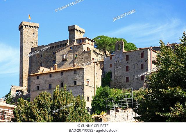 castle and old town of Bolsena. Bolsena is a town and comune of Italy, in the province of Viterbo in northern Lazio on the eastern shore of Lake Bolsena