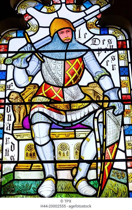 Wales, Cardiff, Cardiff Castle, Stained Glass Window depicting a Knight