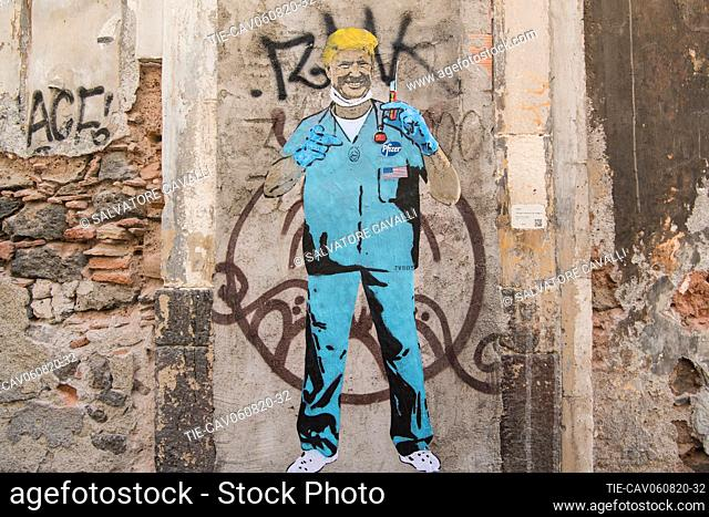The artwork, The Mad Scientist (Dr. Trump), by TVBOY, represents the mad race for the covid vaccine to be the first to be able to dispose of it and take...