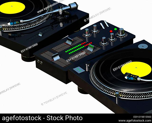 3D rendering DJ mixing set isolated on white background