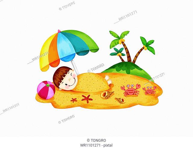 an illustration of a boy on a beach