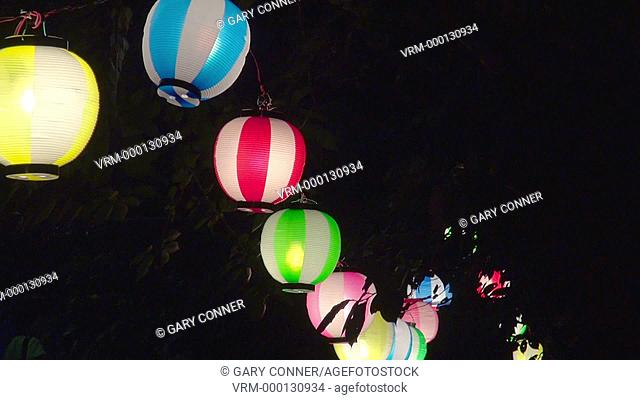 Colorful lanterns at Lantern Floating event, Chiyoda-Ku Noryo No Yube, in Tokyo, Japan