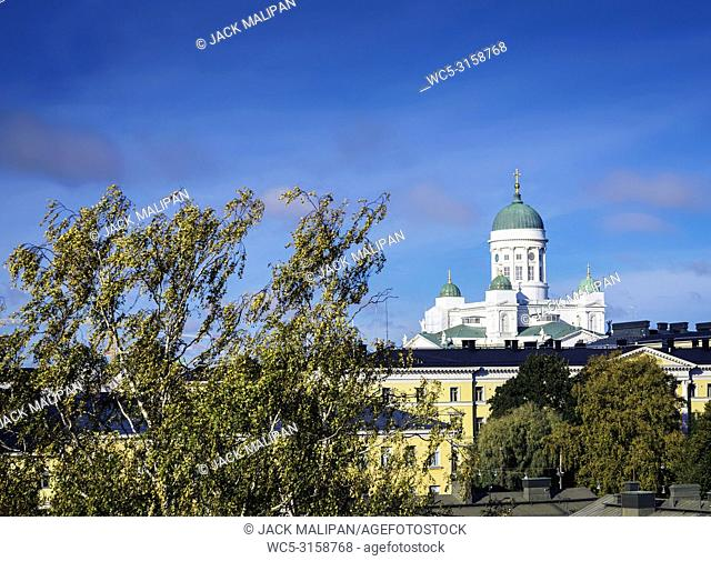 cathedral landmark and central helsinki city view in finland