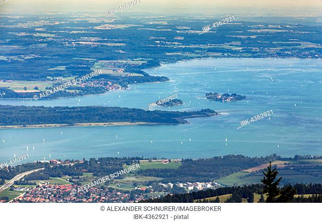 Chiemsee with Fraueninsel, Herreninsel and Krautinsel, Chiemgau, Bavaria, Germany