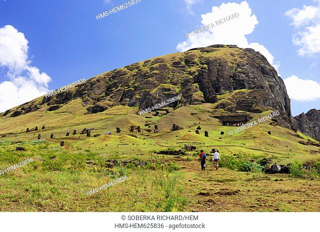 Chile, Easter Island Rapa Nui, site listed as World Heritage by UNESCO, quarries of Moai statues on the flanks of Rano Raraku Volcano
