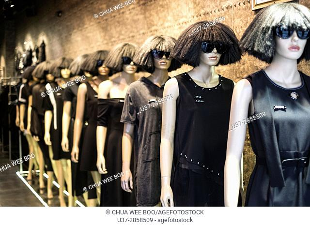 Mannequins with latest fashion on display in Guangzhou, China