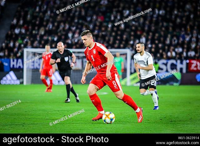 Wolfsburg, Germany, March 20, 2019: Serbian footballer Luka Jovic in action during the international friendly game Germany vs Serbia at Volkswagen Arena