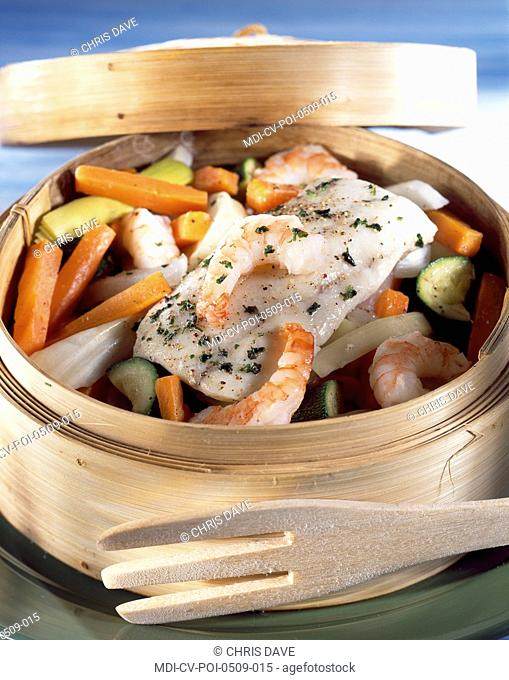 Steamed hake with chervil