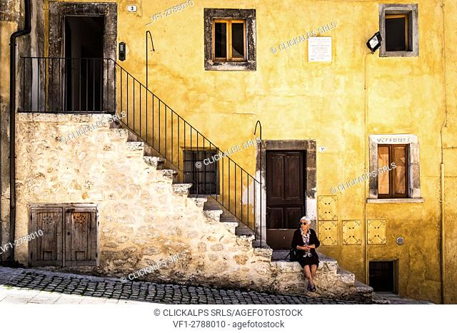 Scanno, Abruzzo, Central Italy, Europe. The famous Bresson's stairway