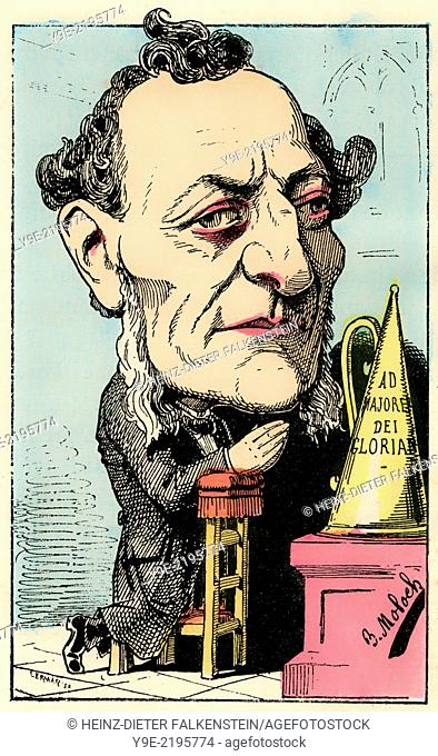 Louis-Joseph Buffet, 1818 - 1898, a French statesman, Political caricature, 1882, by Alphonse Hector Colomb pseudonym B. Moloch, 1849-1909