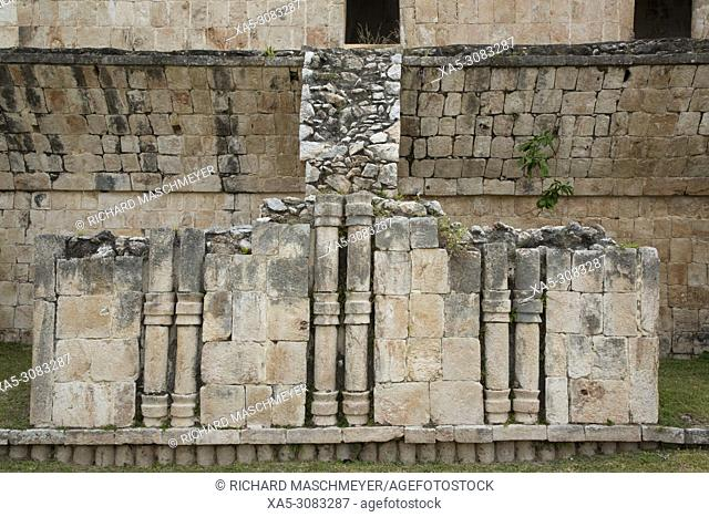 Stone Columns, Palace (Teocalli), Kabah Archaeological Site, Mayan Ruins, Puuc Style, Yucatan, Mexico