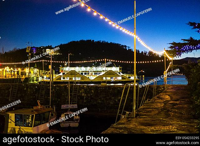 Harbour boat landings in Laveno, Italy, Lake Maggiore, night vision