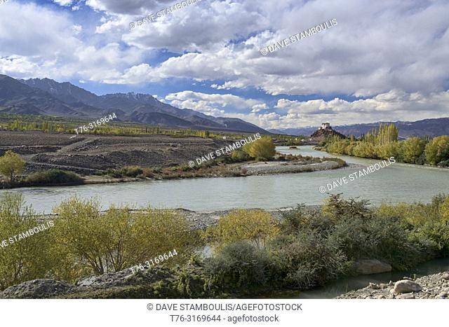 Stakna Monastery and the Indus River in autumn, Ladakh, India