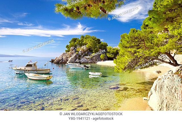 Croatia - Makarska Riviera, beach at Brela Village, Dalmacia, Croatia
