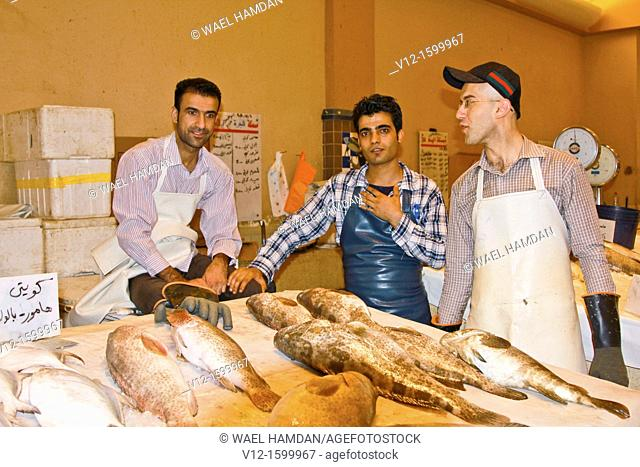 Fish Mongers, fish market at al-Kuot, Kuwait City