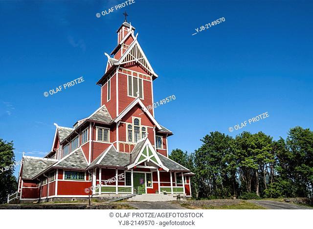 Wooden Buksnes Church of Gravdal on the Lofoten Island Vestvagoya, Norway