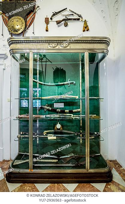 Oriental weapon in Small Armory Hall in Peles Palace, former royal castle, built between 1873 and 1914, located near Sinaia city in Romania