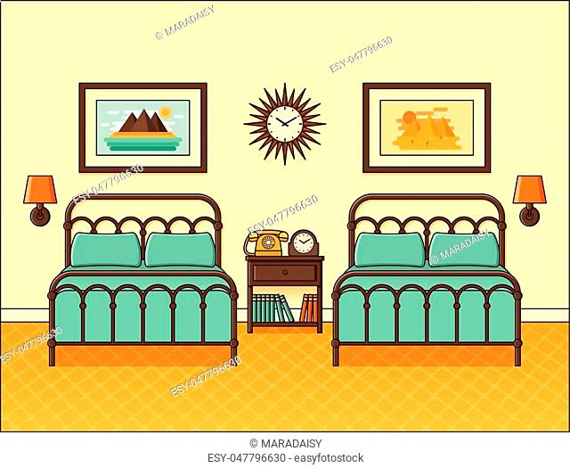 Bedroom interior. Hotel room with two beds. Vector. Home retro space in flat design. Cartoon house equipment. Linear modern illustration