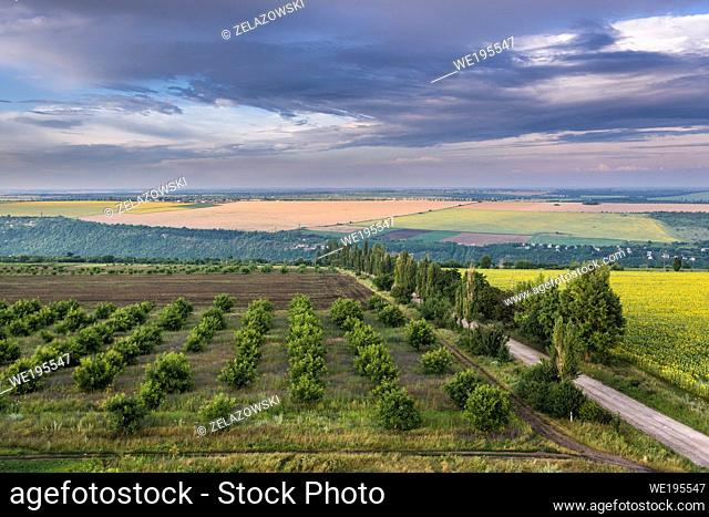 Aerial view on a fields in Saharna Noua village, Rezina District of Moldova