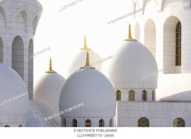 Close-up view of Sheikh Zayed Mosque's domes, Abu Dhabi, United Arab Emirates
