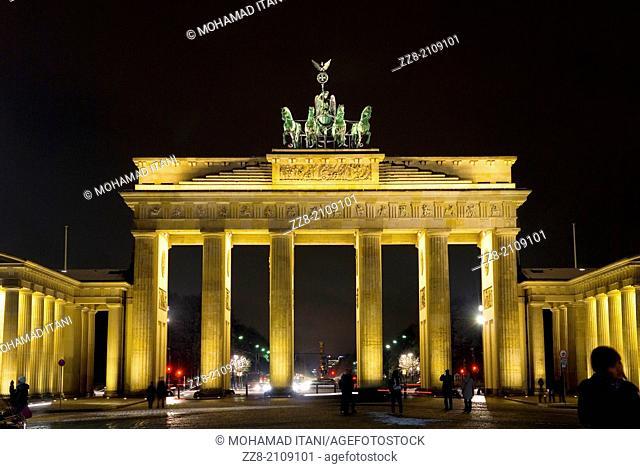 Brandenburg Gate Quadriga at night Berlin Germany