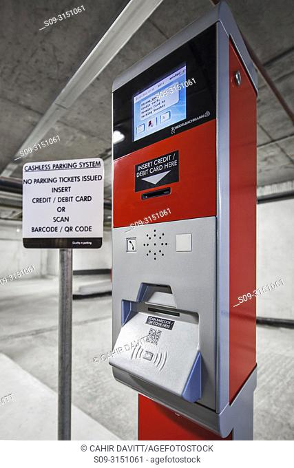 Cashless car park ticketing machine, located in a car park, Dublin, Co. Dublin Ireland