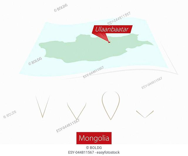 Curved paper map of Mongolia with capital Ulaanbaatar on Gray Background. Four different Map pin set. Vector Illustration