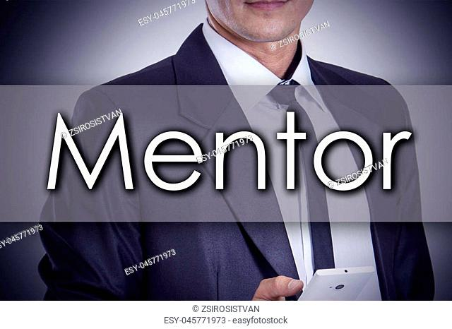 Mentor - Young businessman with text - business concept - horizontal image