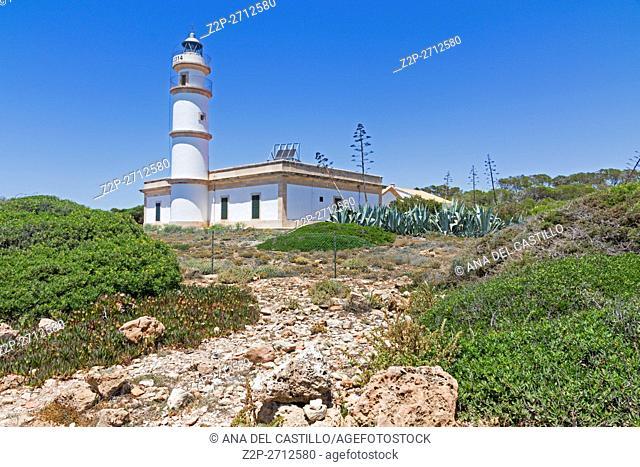 Ses Salines lighthouse in Majorca island Balearics Spain