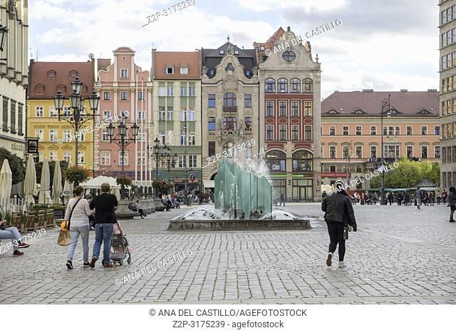 WROCLAW POLAND ON SEPTEMBER 27, 2018: Rynek (Market Square) Poland