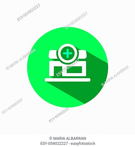 Pharmacy shop icon with shadow on a green circle. Flat color vector pharmacy illustration