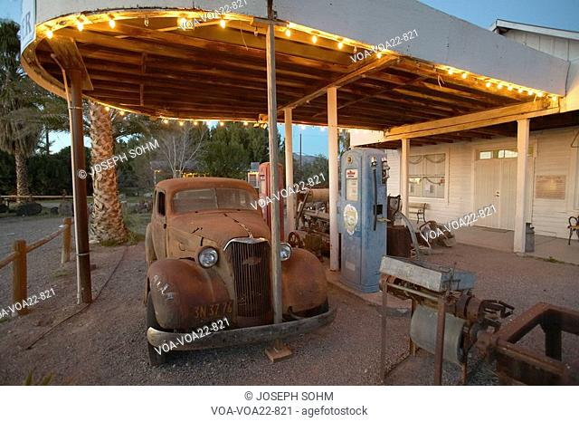 An old car at an old antique gas station in California near Death Valley National Park entrance