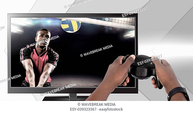 Hands holding gaming controller with volleyball player on television