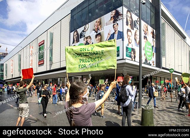 Illustration picture shows an action of climate activists Extinction Rebellion in the Nieuwstraat - Rue Neuve shopping street in the Brussels city center
