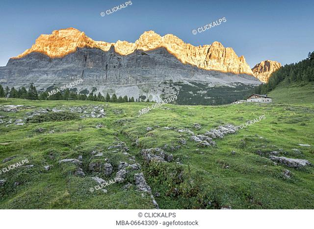 Peak Val Scura and pasture Flavona Europe, Italy, Trentino Alto Adige, Trento district, Non valley