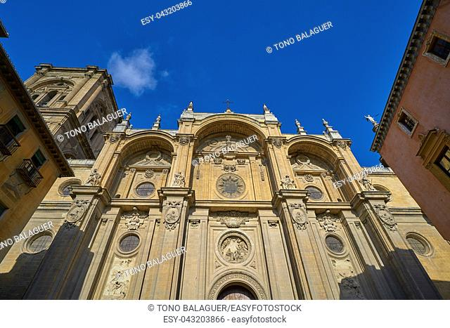 Granada Cathedral facade in Spain Andalusia