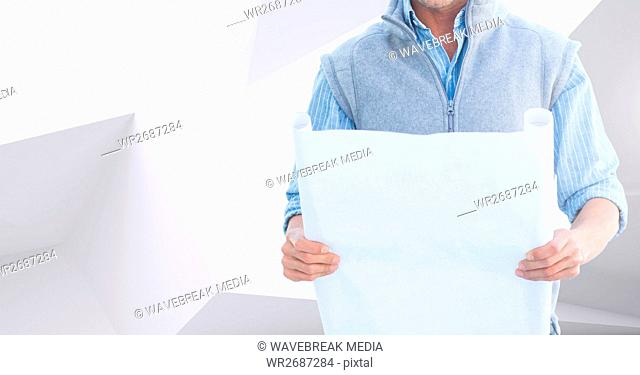 Architect Torso holding plan against white and grey background