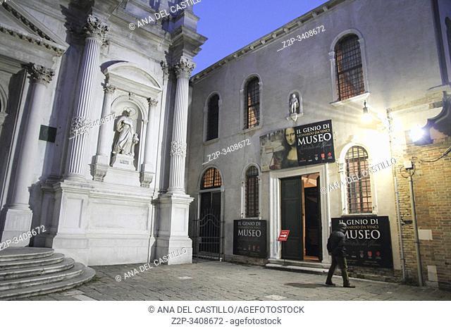 Cityscape in Venice at night Veneto Italy. Leonardo da Vinci museum by night