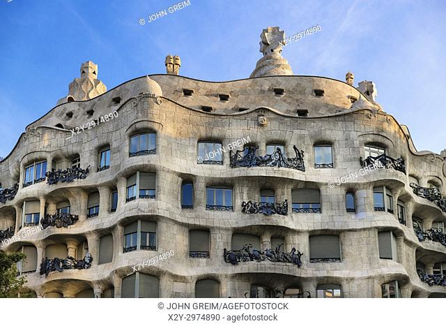 La Pedrera, Casa Milà house designed by Antonio Gaudi, Barcelona, Spain