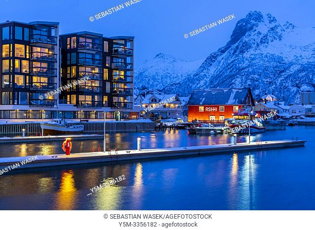 The harbour of Svolvaer, Austvagoya, Lofoten, Nordland, Norway, Europe