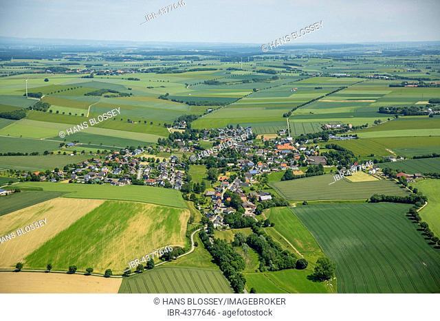 Aerial view, Drewer, Warstein, Sauerland, North Rhine-Westphalia, Germany