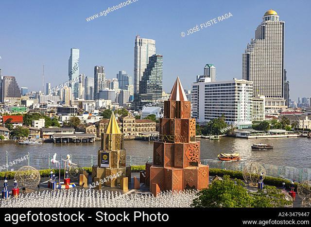 Thailand, Bangkok City, Icon Siam Terrace, Sathon district skyline