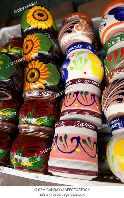 Traditional ceramic cups for sale at the shop in the historic center, Oaxaca, Oaxaca State, Mexico, Central America