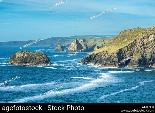 Views from Tintagel towards Bossiney Haven (Cove) in West Cornwall, England, UK