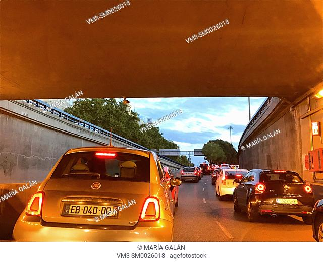Traffic jam in a tunnel. Atocha street, Madrid, Spain
