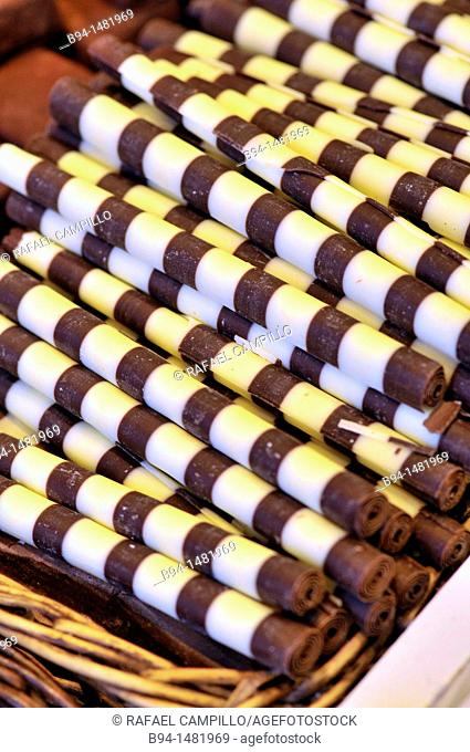 Chocolates at La Boqueria market, Barcelona. Catalonia, Spain