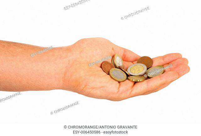 Small euro change in male hand isolated on white
