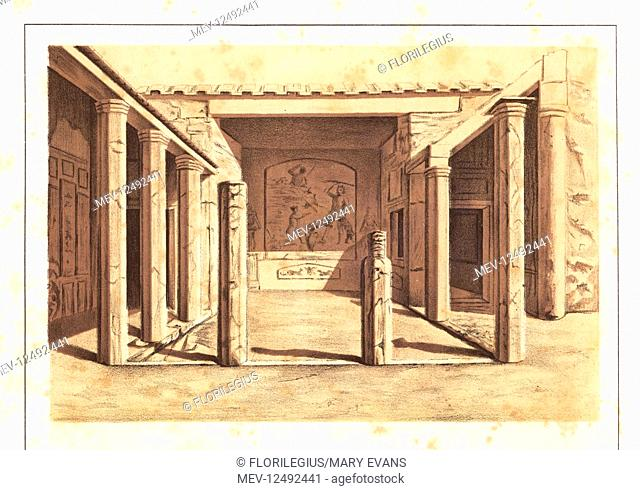 View of the Venereum of the House of Sallust, Reg VI, Ins 2, 3-5, 30, Pompeii. Chromolithograph and illustration by G. Autoriello from Antonio Niccolini's...