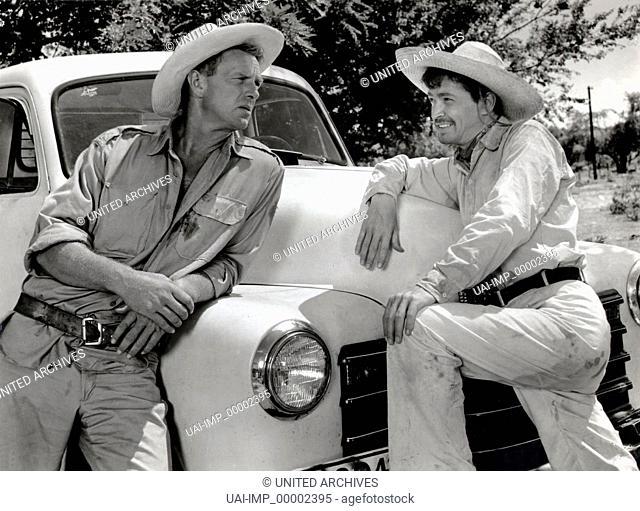 Zehn Tage nach Tulara, (TEN DAYS TO TULARA) USA 1957 s/w, Regie: Lawrence Sherman, STERLING HAYDEN (li), Stichwort: Auto