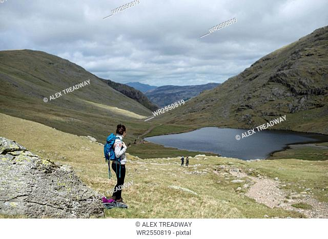 Looking towards Styhead Tarn on the trail towards Great Gable and Scafell Pike in The Lake District National Park, Cumbria, England, United Kingdom, Europe